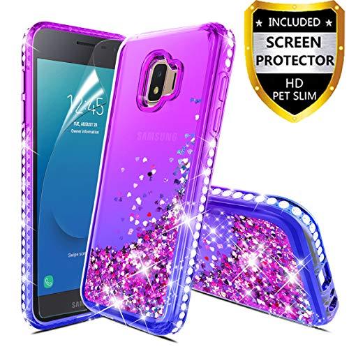(Samsung Galaxy J2 Case,Galaxy J2 Core/J2 Dash/J2 Pure/J2 Shine Case Glitter Liquid Quicksand Floating Shiny Sparkle Flowing Bling Diamond Luxury Clear Cute Case Cover for Girls Women Purple/Blue)