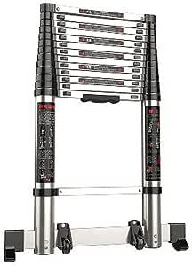 JGWJJ Escalera de extensión telescópica de aluminio (3,8 m) - Certificación EN131 - Telescópico extensible Extensible con mecanismo de bloqueo de carga por resorte Antideslizante - Capacidad máxima de: Amazon.es: Hogar