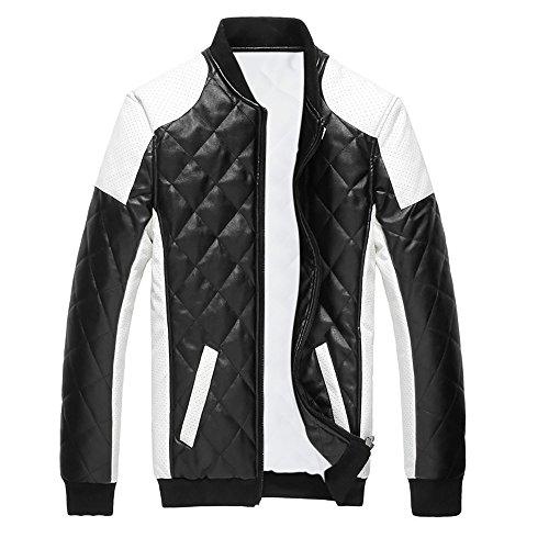Style White Leather - Cloud Style Men's latticed Baseball Bomber Jacket Slim Fit Coat, Medium, Black