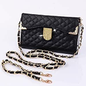 black Bling Diamond Handbag Wallet PU Leather Flip Leather Wallet Case Pouch Cover For ZTE Grand X V970