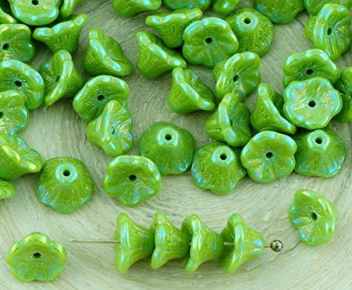 40pcs Opaque Olivine Olive Green Iris Small Bell Flower Caps Czech Glass Beads 5mm x 7mm