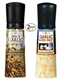 Spicy Garlic Jumbo Adjustable Grinder, 7.4oz - and - Garlic & Sea Salt Jumbo Adjustable Grinder, 9.8oz - 2 pack