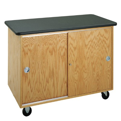 Diversified Woodcrafts 4101K UV Finish Solid Oak Wood Bare Bones Mobile Lab Table, Plastic Laminate Top, 48