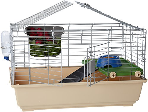 AmazonBasics Small Animal Cage Habitat With Accessories - 32 x 22 x 18 Inches, Standard