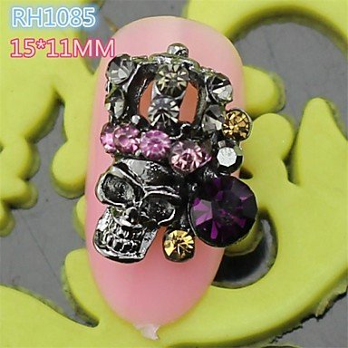 (10PCS RH1085 Black Full Rhinestone Colorful Lovely Halloween Skull Style Easy halloween nail art)