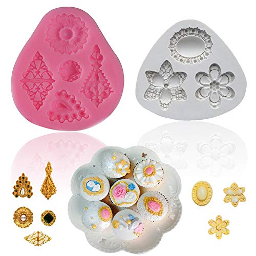 SAKOLLA Brooch Jewelry Silicone Mold Baroque Style Vintage Gemstone Fondant Mold for Cupcake Topper Cake Border ()