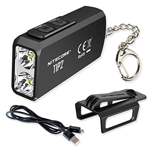 NITECORE TIP 2 (TIP2) 720 Lumen USB Rechargeable Keychain Flashlight with LumenTac Micro-USB Charging Cable