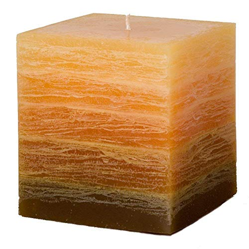 "Nordic Candle - Cube Candle - 4x4"" Orange Layered Rustic Pillar - Unscented ()"
