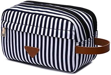 YouNITE ダブルコンパートメントビューティーケースの男性旅行キャンバスシェービングキット化粧品メイクアップオーガナイザー女性トイレタリーバッグ (Color : White)