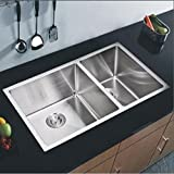 Starstar 32.75  Undermount Stainless Steel 60/40 Double Bowl Kitchen Sink W/Grids