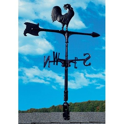 Whitehall Products Traditional Directions - Whitehall Products Rooster Accent Weathervane, 30-Inch, Black