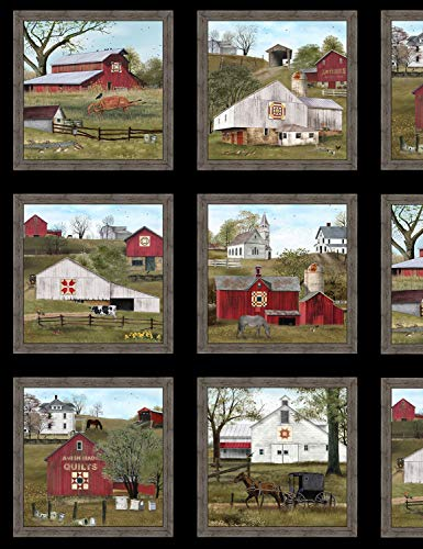 Headin Home Barn Quilts Panel from Elizabeth's Studio 100% Cotton Quilt Fabric 4704 Black