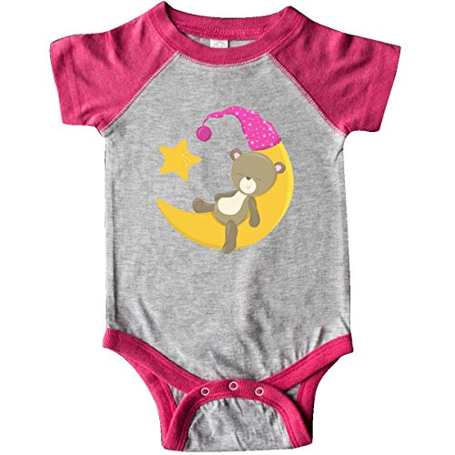 inktastic Cute Baby Bear Sleeping, Infant Creeper 6 Months Heather and Hot Pink