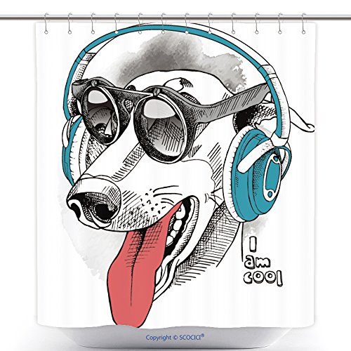 vanfan-Cool Shower Curtains Portrait Of A Funny Dog Greyhound Wearing Blue Headphones And With Sunglasses Vector Illustration Polyester Bathroom Shower Curtain Set With Hooks(72 x 108 - Review Sunglass Warehouse