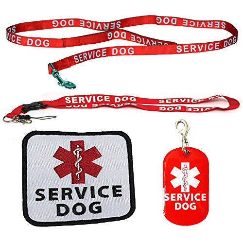 Service Dog Leash with Complimentary Kit - 3 Service Dog Bonuses Including: Service Dog Collar Tag, Lanyard, and Patch. Small to Medium Sized Dog. - Luxury Labels