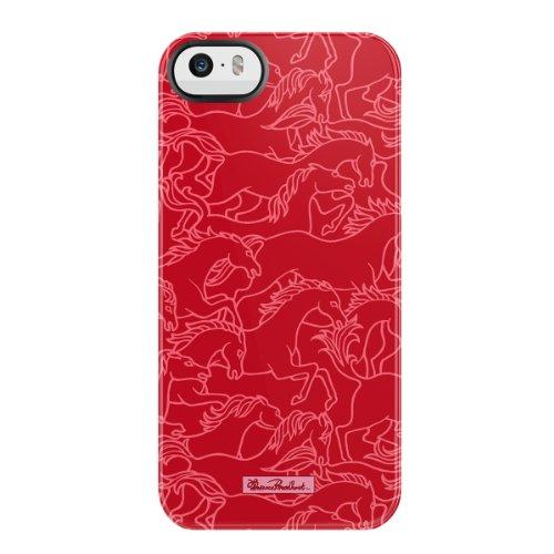 Uncommon LLC Florenz Broadhurst Horses Stampede Schwarz Lünette Abweiser Hard Case für iPhone 5/5S–Retail Verpackung–Rot/Weiß
