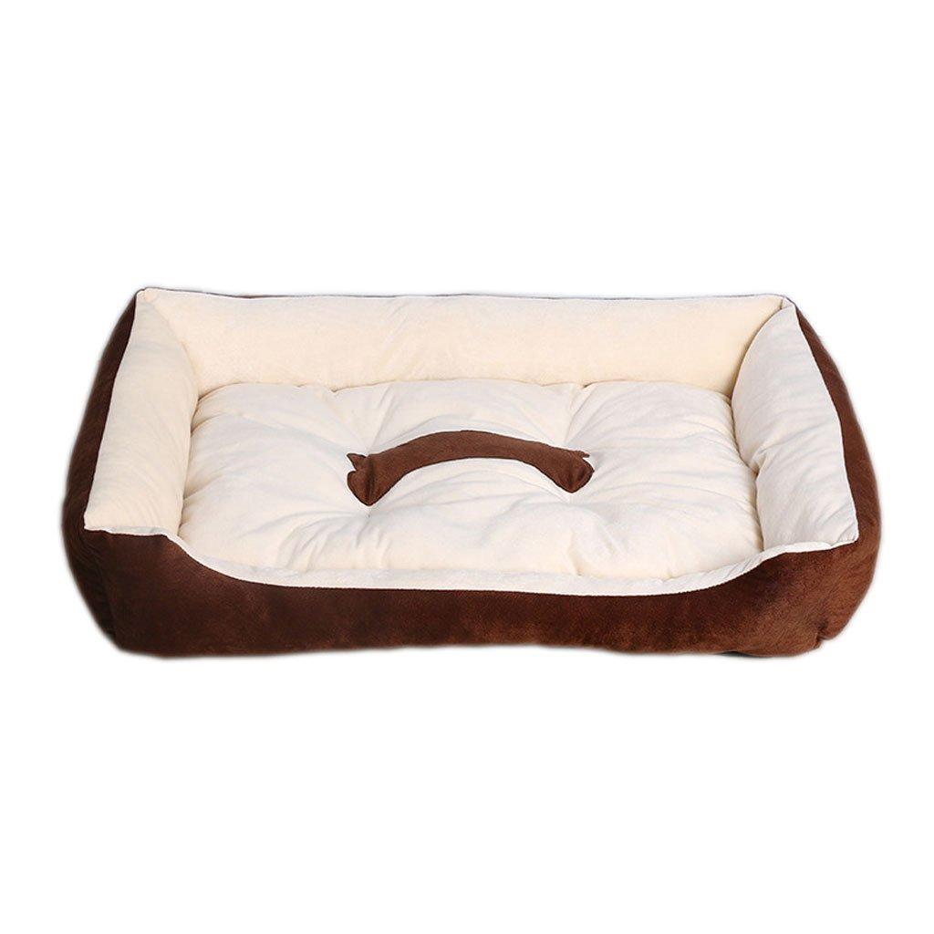 Moolo Pet letto peluche pad cotone impermeabile anti-scivolo quattro stagioni universale morbido confortevole fresco traspirante (Marroneee) Letto per cani (dimensioni   XXS 45  31  15)