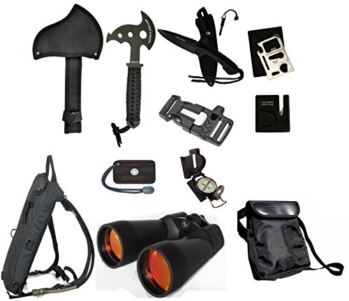 Ultimate Arms Gear Survival Camping Hiking Kit: 20X70 Binoculars Ruby,Sharpener, Axe, Fire Starter Blade, Whistle Flint Striker Belt Buckle, Hydration Backpack, Multi Tool, Compass, Signal Mirror