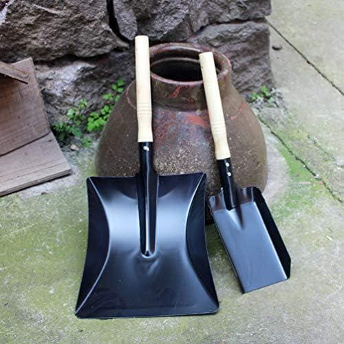 Large Shovel, Small Shovel Metal Dustpan Carbon Steel Ash Coal Fireplace Shovel Charcoal Grill Accessories Garden Hand Tools 2PCS Yardwe BBQ Grill Ash Pan