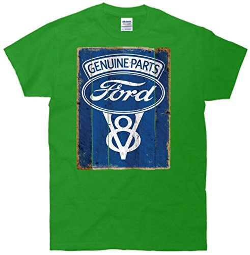 Ford Genuine Parts V8 Logo Vintage Sign T-Shirt Green Medium