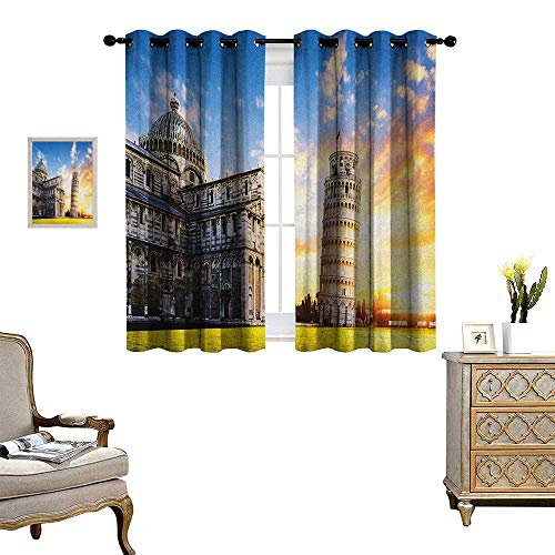 Warm Family Italy Room Darkening Wide Curtains Place of Miracoli Complex with The Leaning Tower of Pisa in Front Tourist Attraction Customized Curtains W72 x L72 Multicolor