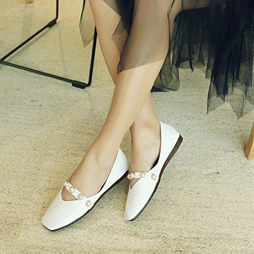 Damen Klassisch Kunstleder Quadratische Zehen Perlen Riemchen Low Top Flach Ballerinas Schwarz 30 EU Aisun XRZizj9
