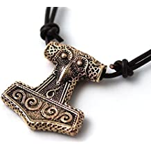 Bronze Viking Raven Crow Odin Thors Hammer Mjolnir Pendant / Necklace Norse Irish Pagan Jewelry