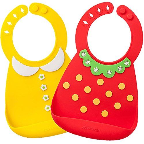 Waterproof Silicone Bib- Comfortable Soft Cute Baby Bib for Toddlers, Easily Wipes Clean after Sharing Food with Babies! Set of 2 (Yellow Baby Bib)