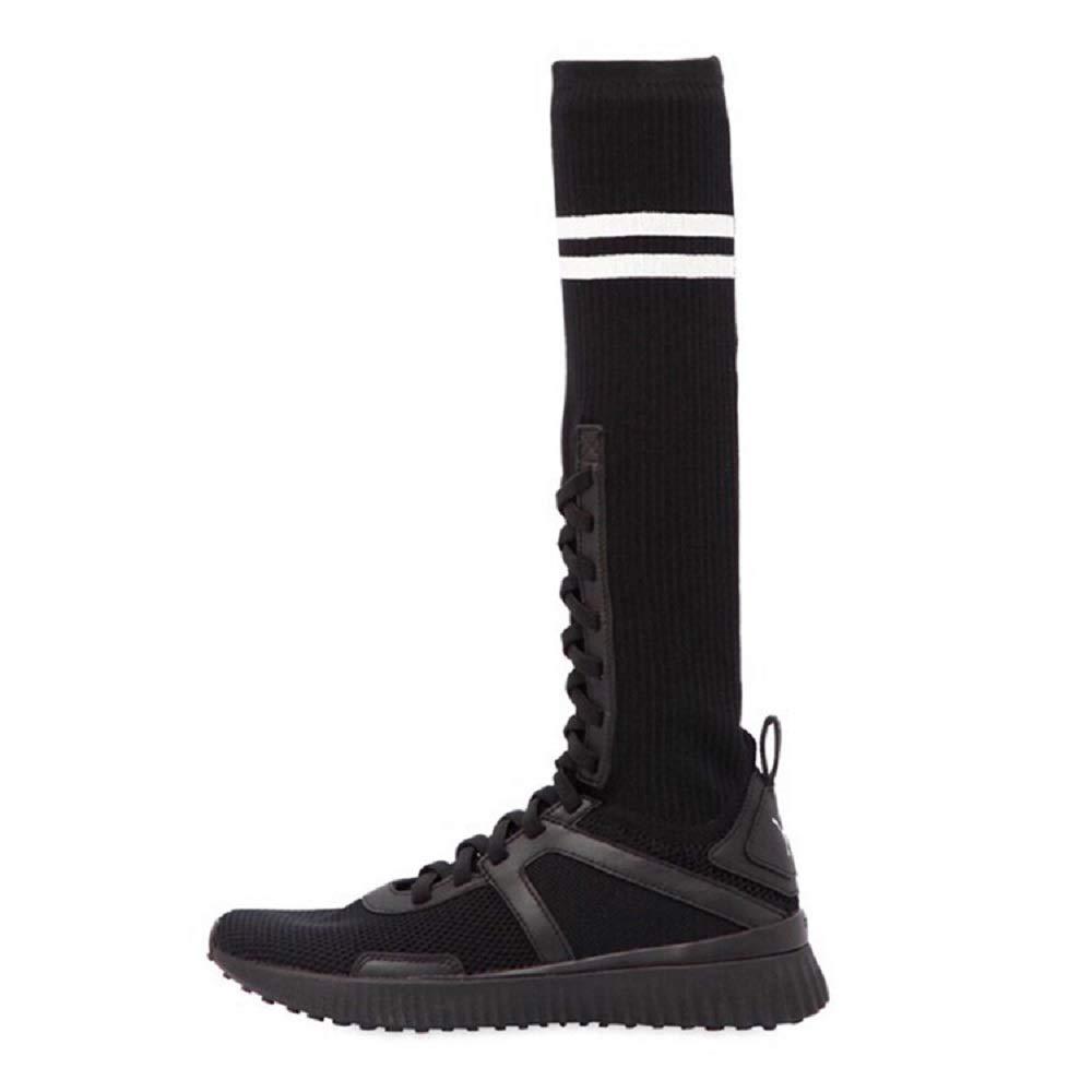Gaslinyuan Frauen-elastische Aufladungen schnüren Sich Oben Kniehohe Art-  und Weisekomfort-Schuhe (Farbe  Art-  Schwarz Größe   EU 37) f907b9