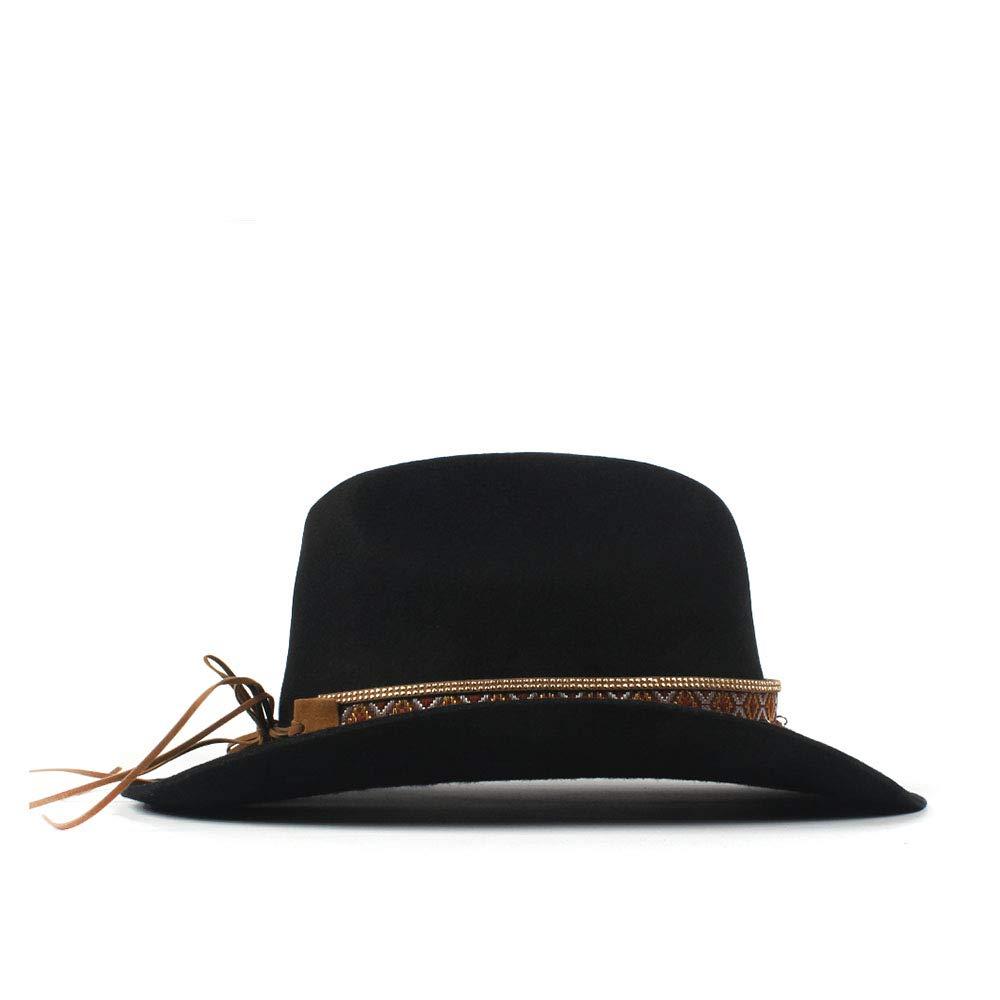 LL Women's 100% Wool Vintage Style Wool Blend Wide Stiff Brim Western Cowboy Hats Tassel Bohemia Ribbon Cowgirl Caps (Color : Black, Size : 56-59cm) by LL (Image #5)