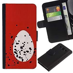 JackGot ( Huevo Rojo Blanco Spots Pascua Rojo Blanco ) Samsung Galaxy S3 III i9300 i747 la tarjeta de Crédito Slots PU Funda de cuero Monedero caso cubierta de piel