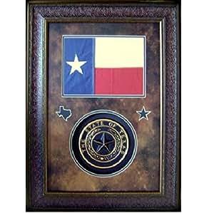 texas flag texas seal wall art decor rustic western framed art wall art. Black Bedroom Furniture Sets. Home Design Ideas