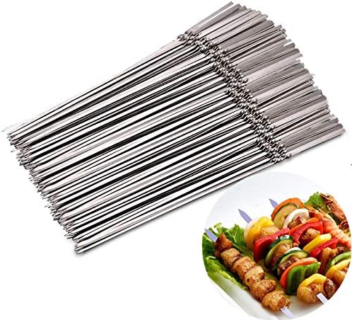 15pcs Reusable flat stainless steel bbq skewers bbq Needle sticks for cooking