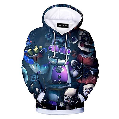 Fushimuma Unisex 3D Five Nights at Freddy Cartoon Hoodie Men Boy Girls Cosplay Costume Pullover Sweatshirt(L ()