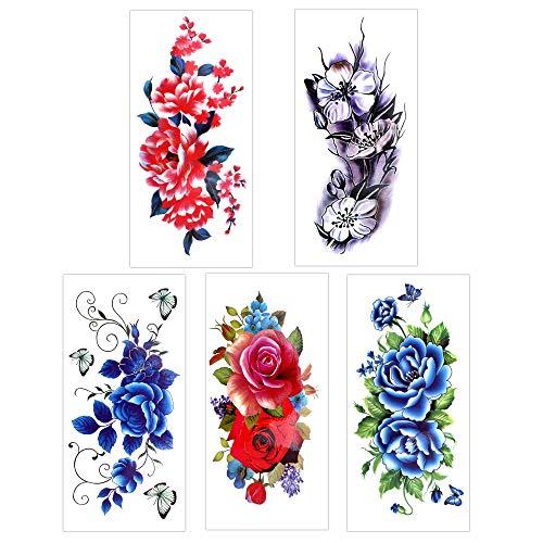 2c1053148 Flower Temporary Tattoos for Women Teens Girls(14 Sheets),Konsait Rose Lotus  Cherry