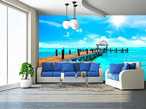 wall26 - Exotic Caribbean Island. Tropical Beach Resort. Travel or Vacations Concept - Removable Wall Mural | Self-adhesive Large Wallpaper - 100x144 (Caribbean Wall Mural)