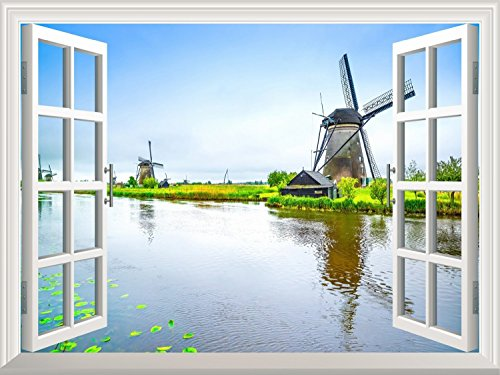 Wallpaper Large Wall Mural Series ( Windmill and a Peaceful Lake)