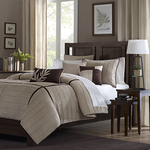 Madison Park Dune Duvet Cover Queen Size - Khaki, Pieced Duvet Cover Set - 6 Piece - Faux Suede Light Weight Bed Comforter Covers