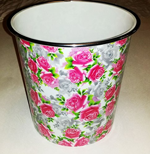 Kole Imports Small Round Floral Pattern Wastebasket, 1.3 gal, Red Roses