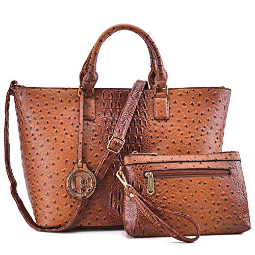 Women Vegan Ostrich Leather Handbag Tote Bag Top Handle Purse Satchel Hobo Bag 2 Handbags Set (Brown)