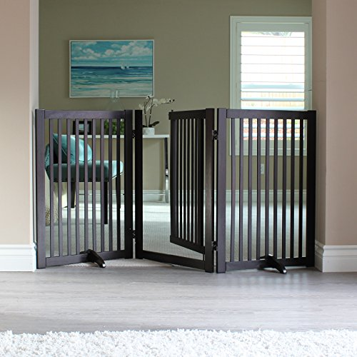 WELLAND Freestanding Wood Pet Gate with Walk Through Door, 66-Inch, Espresso