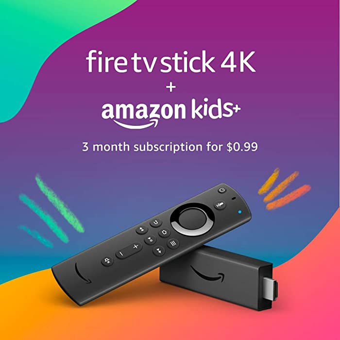Fire TV Stick 4K with Alexa Voice Remote (includes TV controls) and 3 months of Amazon Kids+ (with auto-renewal)