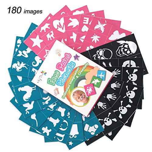 Maydear Face Paint Stencils for Kids (180 Designs) - Reusable, Soft and Easy to Stick Down, Non-Toxic to Kids and Perfect for Parties, Christmass, Halloween, Carnivals, School and Church Events ()