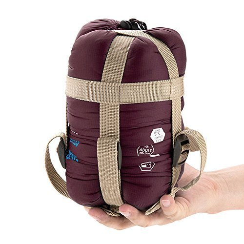 ECOOPRO Warm Weather Sleeping Bag - Outdoor Camping, Backpacking & Hiking - Fit for Kids, Teens and Adults - Spring, Summer & Fall - Lightweight, Waterproof & Compact Wine Red