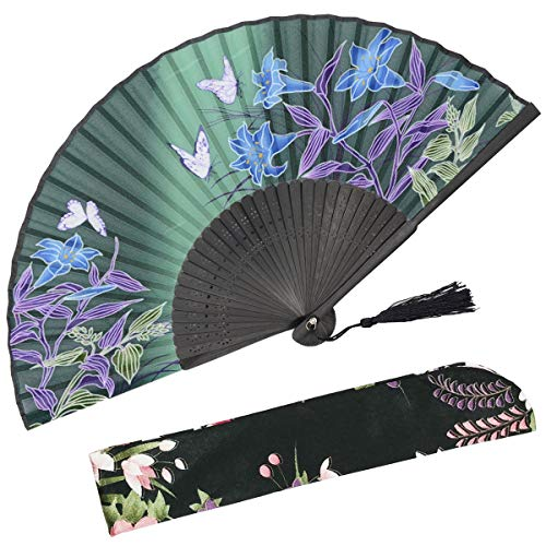 OMyTea Hand Held Silk Folding Fan with Bamboo Frame - With a Fabric Sleeve for Protection for Gifts - 100% Handmade Oriental Chinese / Japanese Vintage Retro Style - For Women Ladys Girls (WZS-27)