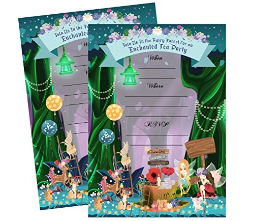 Enchanted Fairy Forest Garden Tea Party Invitations Supply Decoration Decor (Invite)