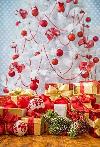 Leowefowa Backdrop 7x9ft Christmas Decoration Interior Photography Backgroud Chrismas Red Balls Pendants Pine Needles Dry Fruits Happy Year Festival Celebration