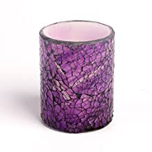 "Mosaic Flameless LED Candle with Timer, 3 x 4"", Purple"