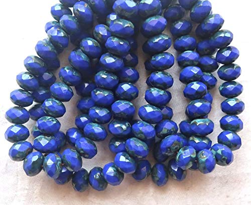 Perfect and Stunning Beads - Lot of 25 Czech Glass Puffy rondelle Beads, 8 x 6mm Opaque Royal Blue Picasso Faceted rondelles C99201 ()