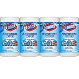 Clorox Anywhere Wet Wipes, Kid, Pet, Food Safe, Bleach-Free and Fragrance-Free, 75 Sheets 15.1 oz, 4-Pack